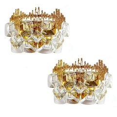 Exceptionnal Pair 60s MidCentury Palwa Gilt Crystal  Mirror Sconces Wall Lights