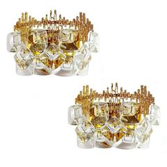 Pair MidCentury Palwa Gold-Plated Brass Crystal Glass Vanity Sconces,  1960s