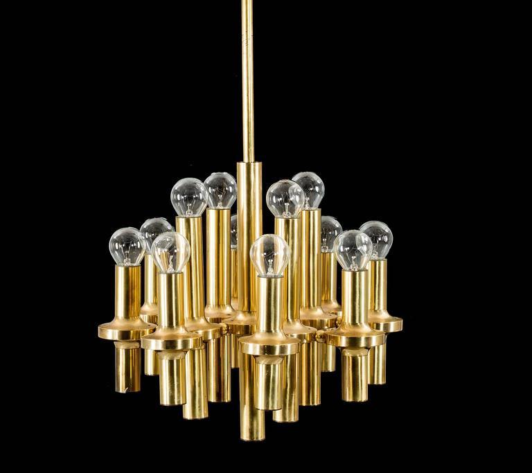 Sciolari 12 lights brass chandelier pendant light 1960s for sale at mid century modern sciolari 12 lights brass chandelier pendant light 1960s for sale aloadofball Images