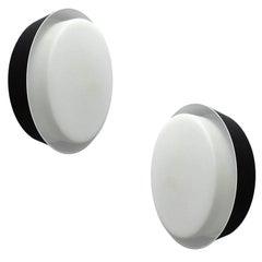 Pair MidCentury Bega Glass Mirror Vanity Sconces,  Stilnovo Style