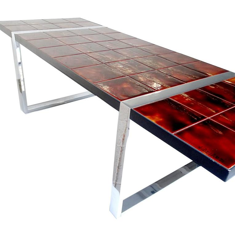 Large 1960s Mid Century Side Coffee Table, 1960s Modernist Design, Capron Era 6