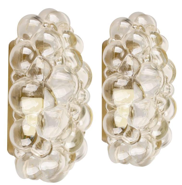 Pair Of Limburg Bubble Glass Sconce Brass Wall Fixtures