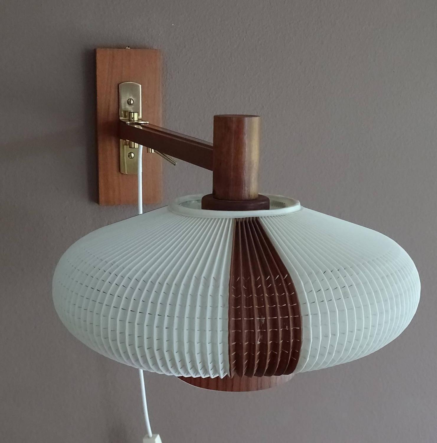 Very Large Danish Modern Articulate Swing Wall Lamp Teak Cocoon Sconce, 1960s For Sale at 1stdibs