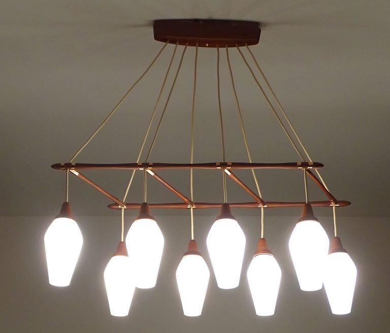 Very large danish modern teak chandelier 1960s pendant for Very modern lighting