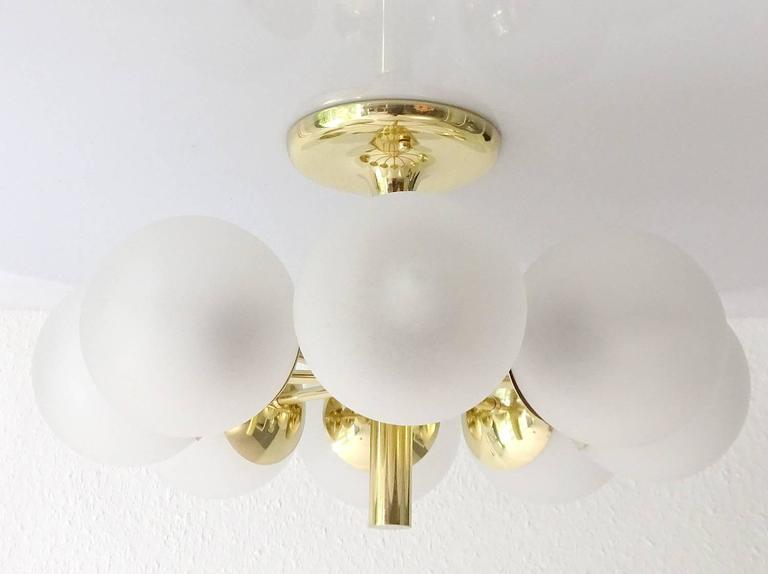 Kaiser Brass & Glass Globes Chandelier, 1960s Stilnovo Style   7