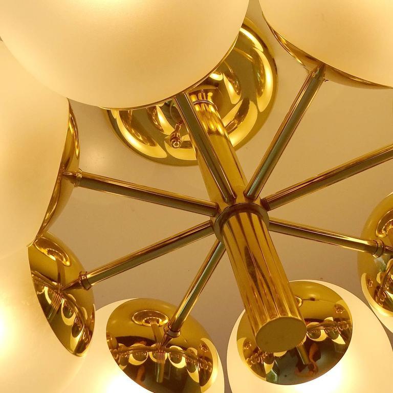 Kaiser Brass & Glass Globes Chandelier, 1960s Stilnovo Style   9