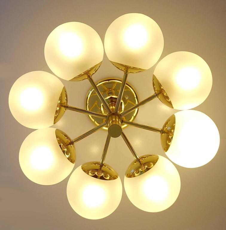 Kaiser Brass & Glass Globes Chandelier, 1960s Stilnovo Style   2