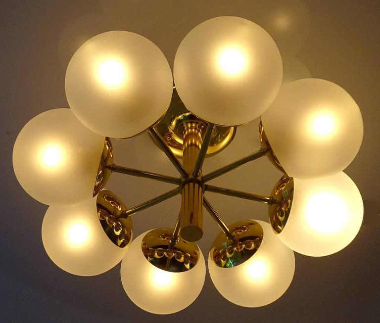 Kaiser Brass & Glass Globes Chandelier, 1960s Stilnovo Style   4