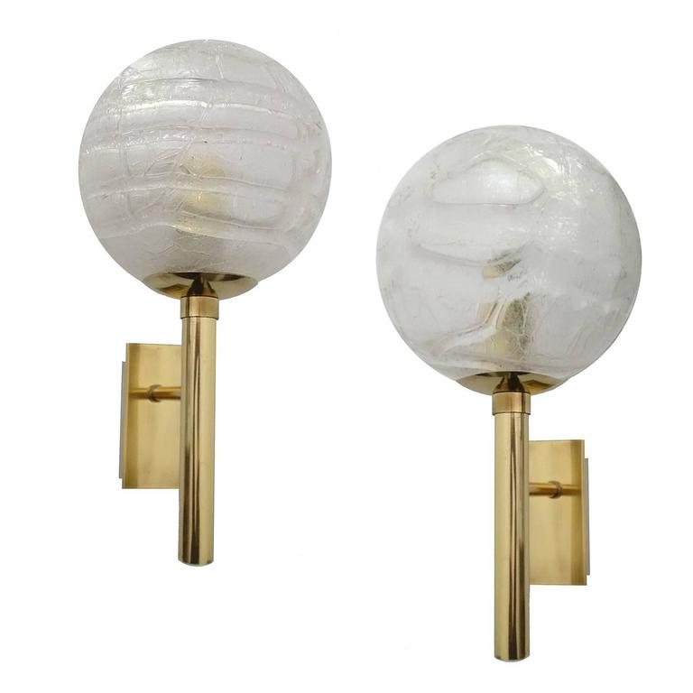 pair of doria murano glass and brass sconces 1960s vanity mirror lights for. Black Bedroom Furniture Sets. Home Design Ideas