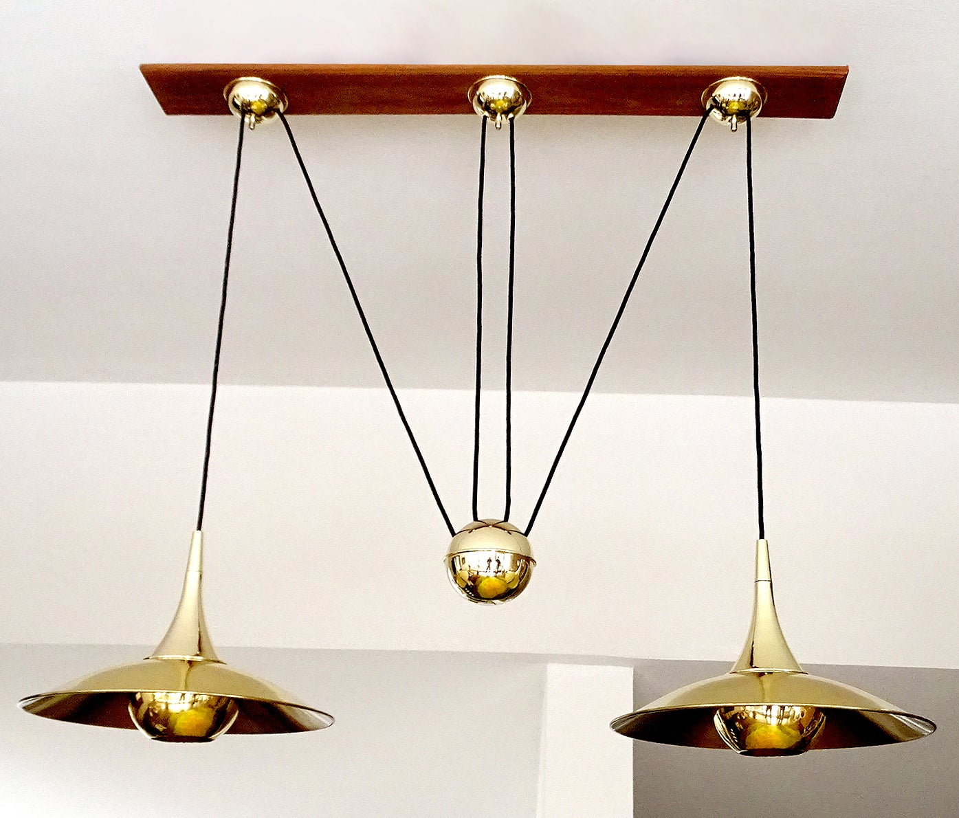 very large pair brass counterweight chandelier pendant lamp schultz era at 1stdibs