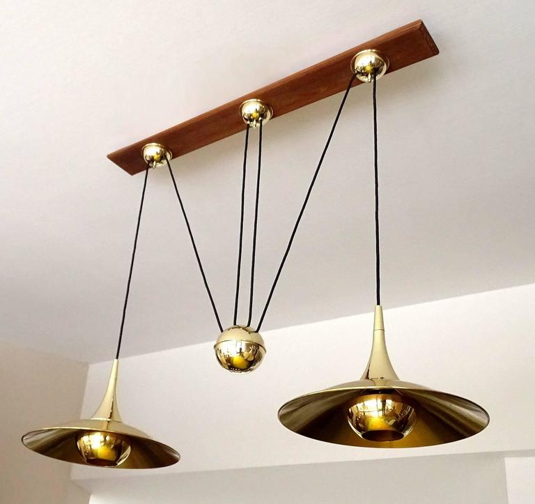 Very large pair brass counterweight chandelier pendant lamp schultz mid century modern very large pair brass counterweight chandelier pendant lamp schultz era for sale aloadofball Images