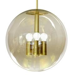 Large Mid Century Peil and Putzler Sptunik Glass Globe Chandelier, Stilnovo Styl