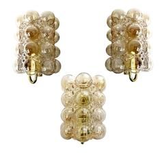 Three Large  Limburg Bubble Glass Brass  Mirror Vanity Sconces
