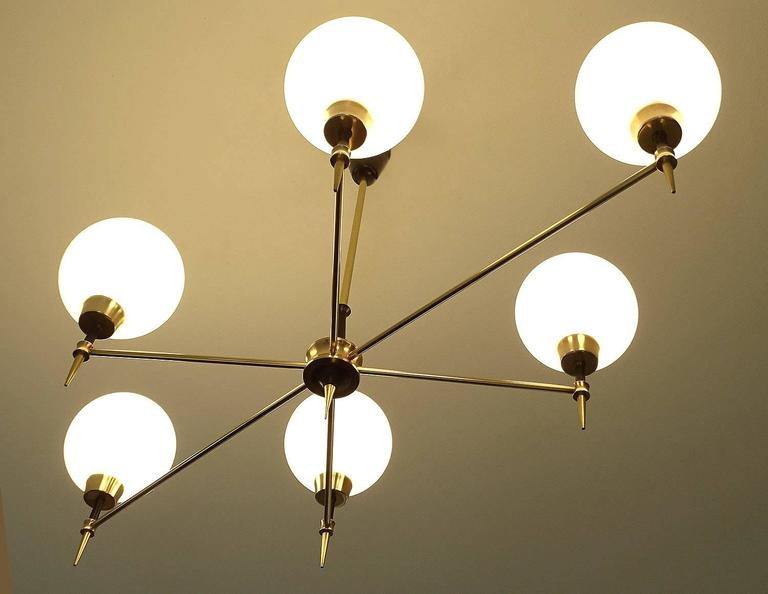 Linear Globe Bath Light: Large Linear French Glass Globes And Brass Chandelier