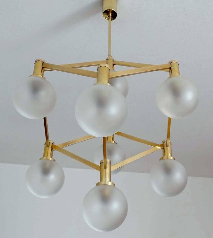 Mid-Century Modern Sciolari Glass and Brass Chandelier, 1960s Modernist Stilnovo Pendant Lamp For Sale