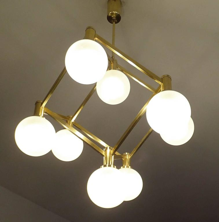 Mid-20th Century Sciolari Glass and Brass Chandelier, 1960s Modernist Stilnovo Pendant Lamp For Sale