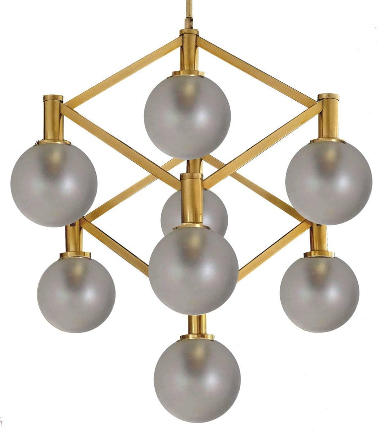 Sciolari Glass and Brass Chandelier, 1960s Modernist Stilnovo Pendant Lamp For Sale 4