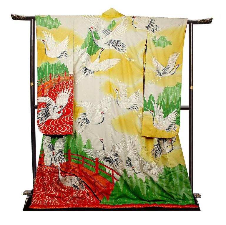 Vintage Silk Silver Gold Brocade Japanese Ceremonial Kimono, Art ...
