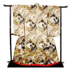 Japanese Embroidered Kimono with Cranes, Chinese Country Landscape