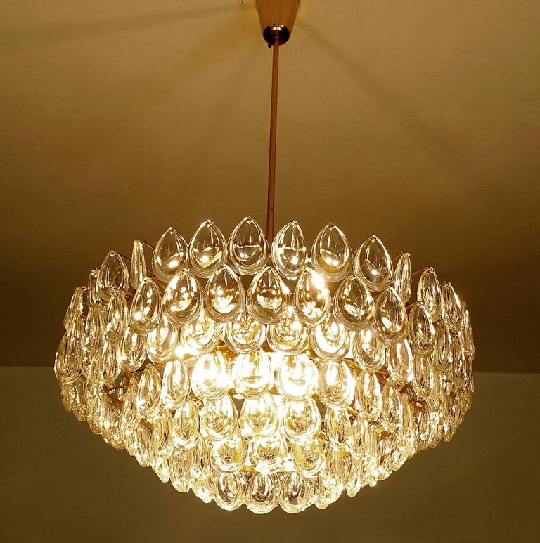 Large palwa glass brass crystal chandelier pendant light gio ponti large palwa glass brass crystal chandelier pendant light gio ponti era in good condition for aloadofball Images