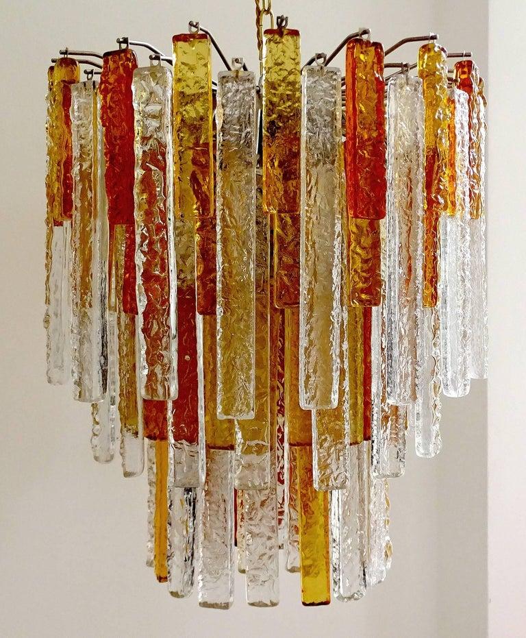 Italian Pair Large Mid-Century Modern Mazzega Murano Glass Chandeliers, Gio Ponti Era For Sale