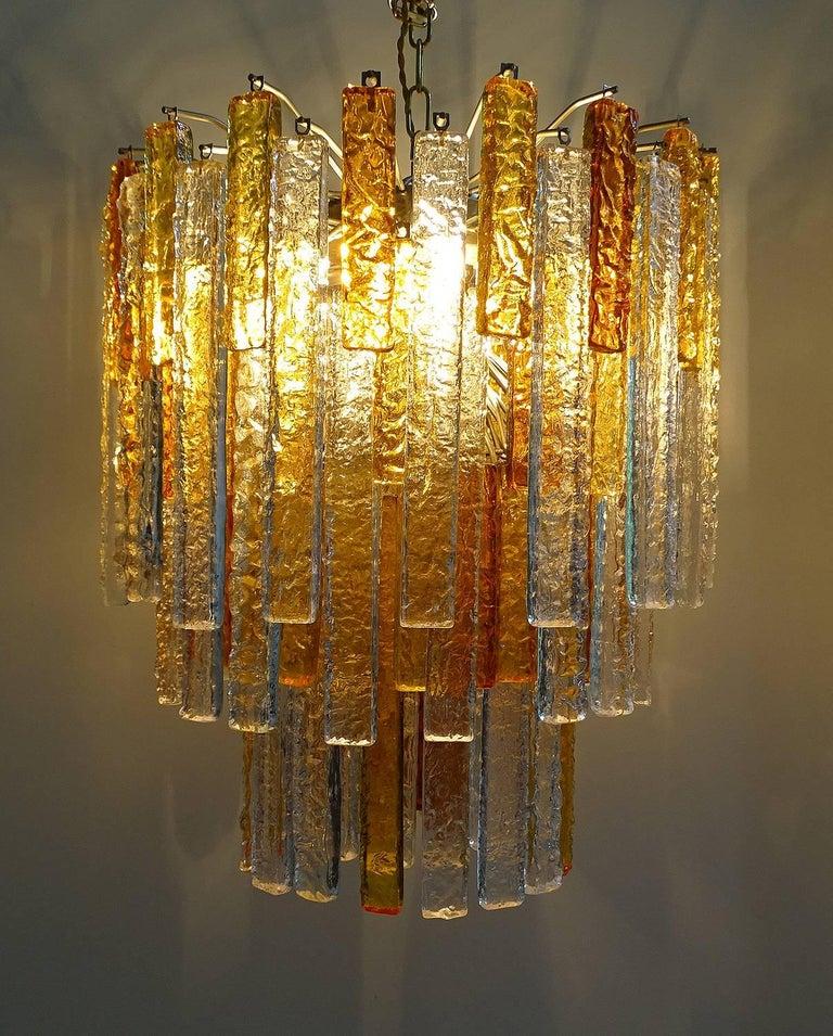 Pair Large Mid-Century Modern Mazzega Murano Glass Chandeliers, Gio Ponti Era In Good Condition For Sale In Bremen, DE