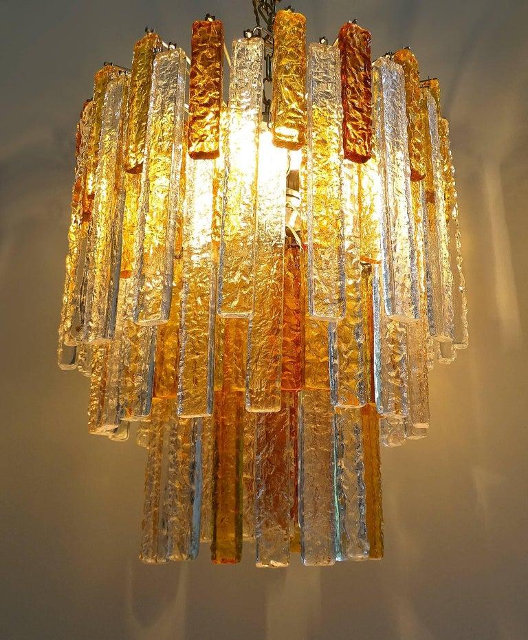 Steel Pair Large Mid-Century Modern Mazzega Murano Glass Chandeliers, Gio Ponti Era For Sale