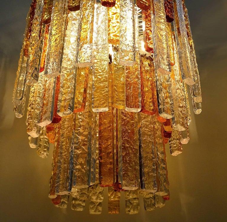 Pair Large Mid-Century Modern Mazzega Murano Glass Chandeliers, Gio Ponti Era For Sale 2