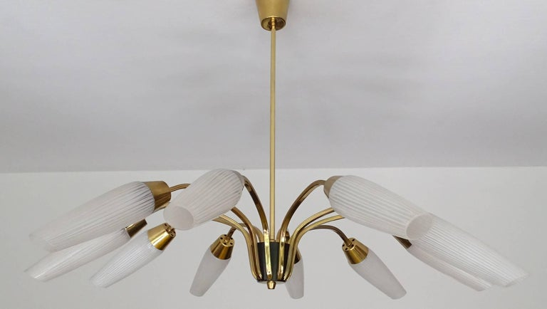 Brass Large Italian Sputnik Chandelier For Sale