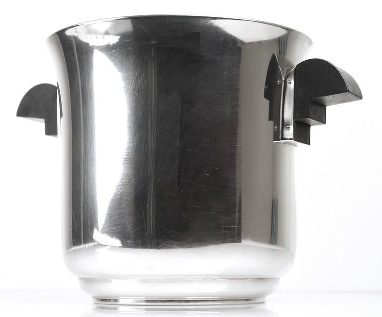 French Art Deco Champagne Ice Bucket Wine Cooler, 1930s Modernist Cubist Design 2