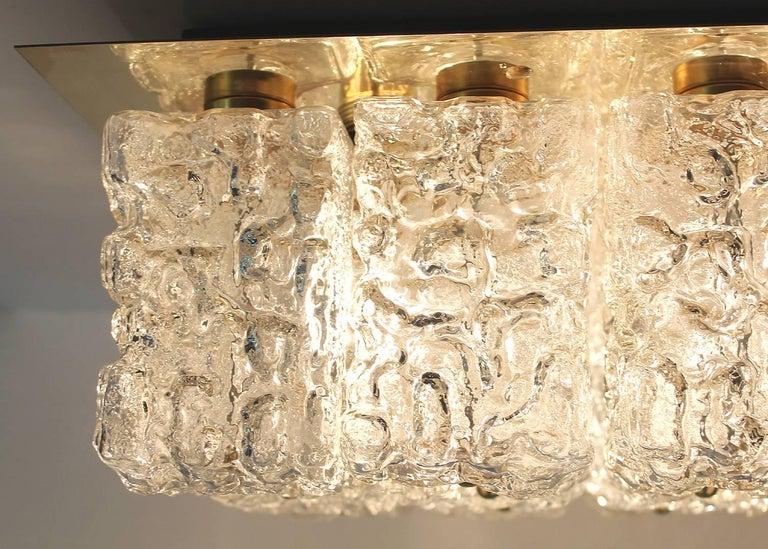 Large MidCentury Square Limburg Brass Glass Ceiling Light, Gio Ponti Era  For Sale 3