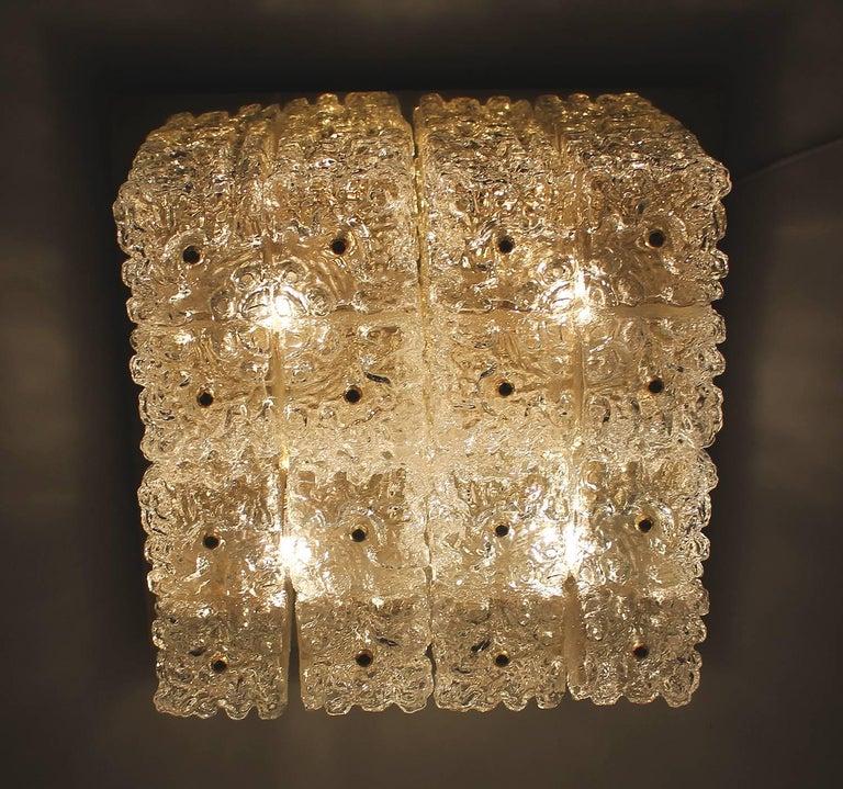 Large MidCentury Square Limburg Brass Glass Ceiling Light, Gio Ponti Era  For Sale 5