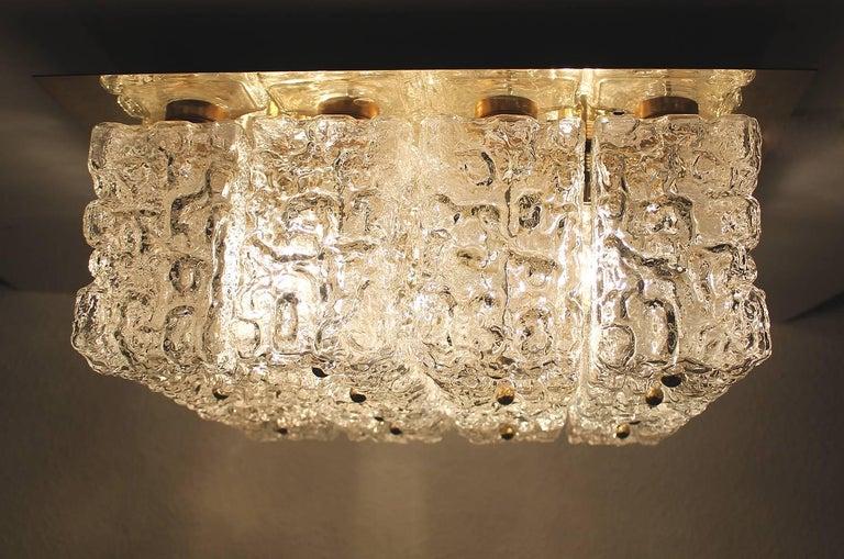 Large MidCentury Square Limburg Brass Glass Ceiling Light, Gio Ponti Era  For Sale 7
