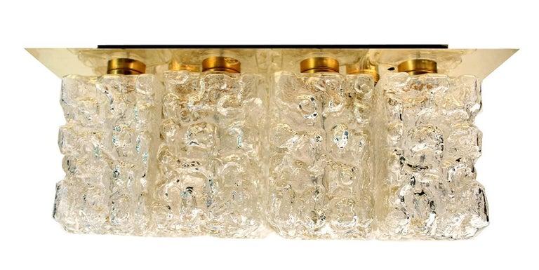 Large MidCentury Square Limburg Brass Glass Ceiling Light, Gio Ponti Era  For Sale 8