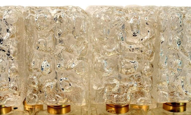 Large MidCentury Square Limburg Brass Glass Ceiling Light, Gio Ponti Era  For Sale 9