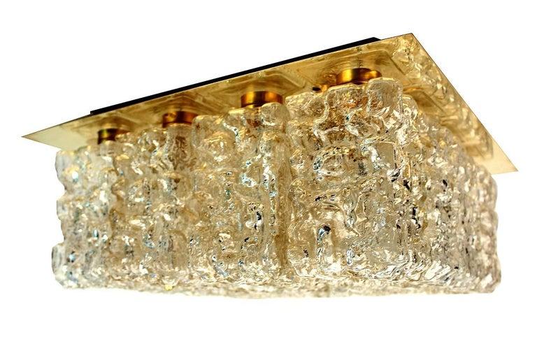 Large MidCentury Square Limburg Brass Glass Ceiling Light, Gio Ponti Era  For Sale 10