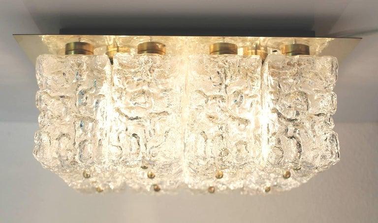 Large MidCentury Square Limburg Brass Glass Ceiling Light, Gio Ponti Era  For Sale 11