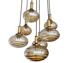 Large Limburg Cascade Glass Brass Chandelier, 1970s Stilnovo Style Pendant Lamp