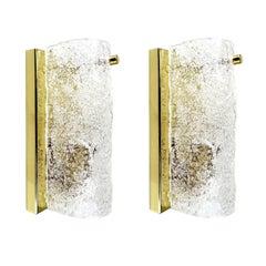 Pair Hillebrand Murano Glass &  Brass Sconces, 1960s Modernist  Wall Lights