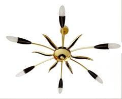 Large Stilnovo Style Chandelier Modernist Sunburst Brass Pendant Lamp, 1950s