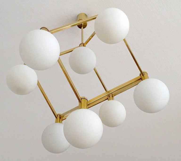 Large Italian MidCentury Brass Glass Chandelier Pendants, Stilnovo Gio Ponti Era For Sale 2