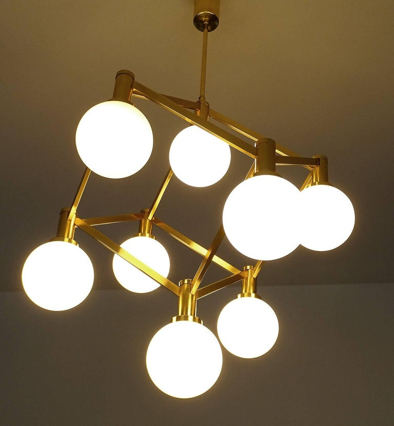 Large Italian MidCentury Brass Glass Chandelier Pendants, Stilnovo Gio Ponti Era In Excellent Condition For Sale In Bremen, DE