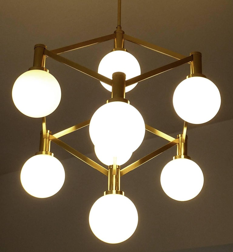 Large Italian MidCentury Brass Glass Chandelier Pendants, Stilnovo Gio Ponti Era For Sale 6