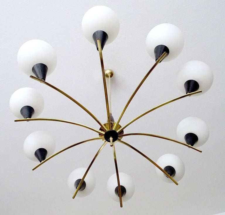Large MidCentury Glass Brass Sputnik Chandelier Pendant, Stilnovo Gio Ponti Era  For Sale 1