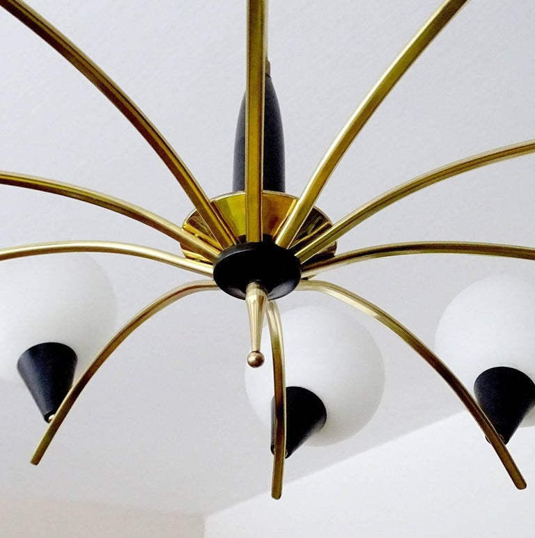 Large MidCentury Glass Brass Sputnik Chandelier Pendant, Stilnovo Gio Ponti Era  For Sale 7