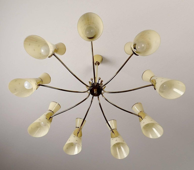Large Italian Diabolo Glass Shades and  Brass Chandelier Pendant Light, 60s For Sale 1