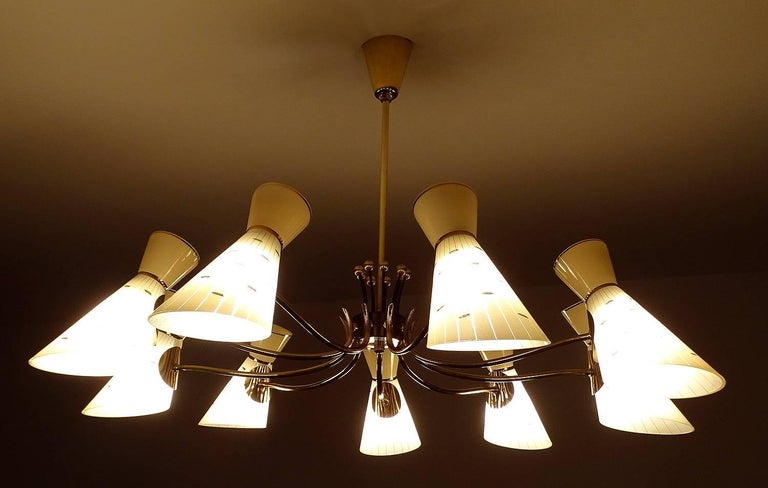 Mid-20th Century Large Italian Diabolo Glass Shades and  Brass Chandelier Pendant Light, 60s For Sale