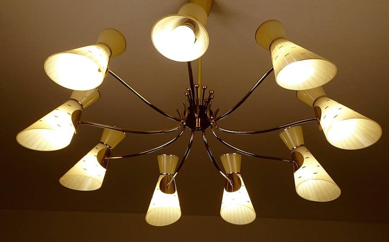 Large Italian Diabolo Glass Shades and  Brass Chandelier Pendant Light, 60s For Sale 2