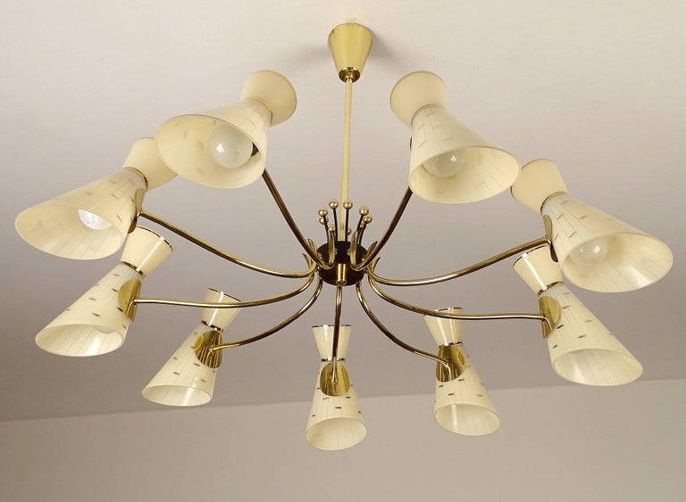 Large Italian Diabolo Glass Shades and  Brass Chandelier Pendant Light, 60s For Sale 3