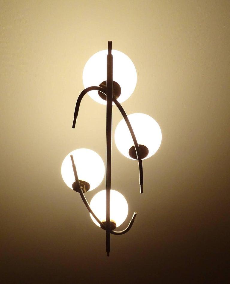Large  Maison Lunel Brass Chandelier  Pendant Light, Stilnovo Gio Ponti Era For Sale 5